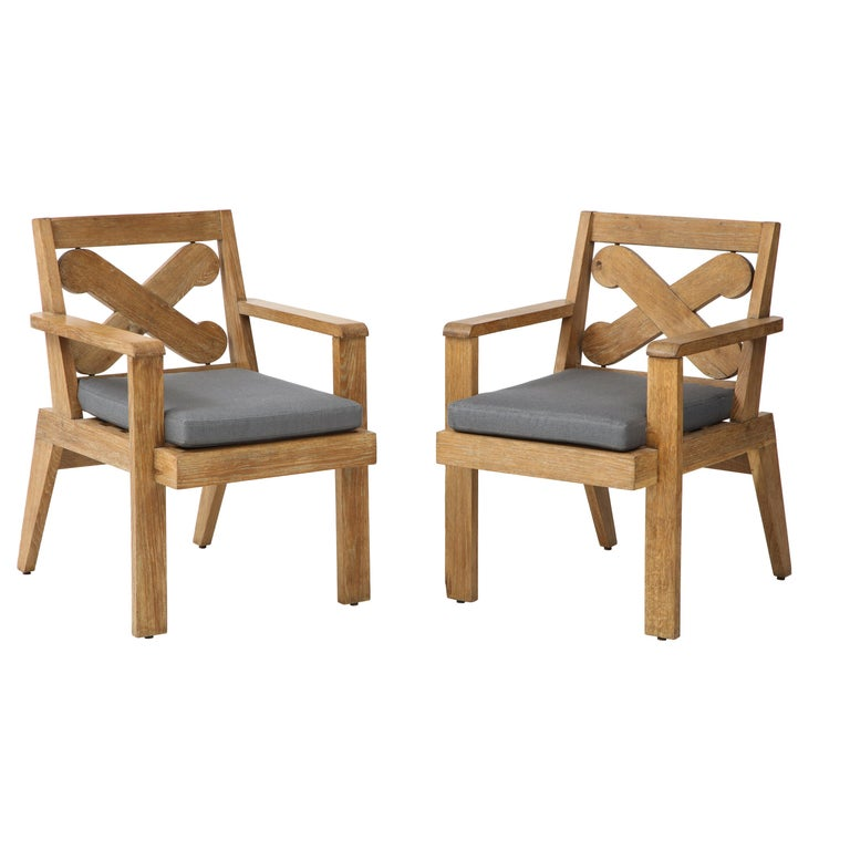 Pair of French Cerused Oak X Armchairs with Blue Steel Colored Linen Upholstery For Sale