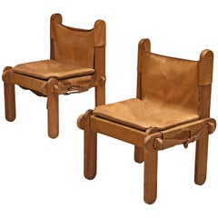 Pair of French Chairs in Cognac Leather
