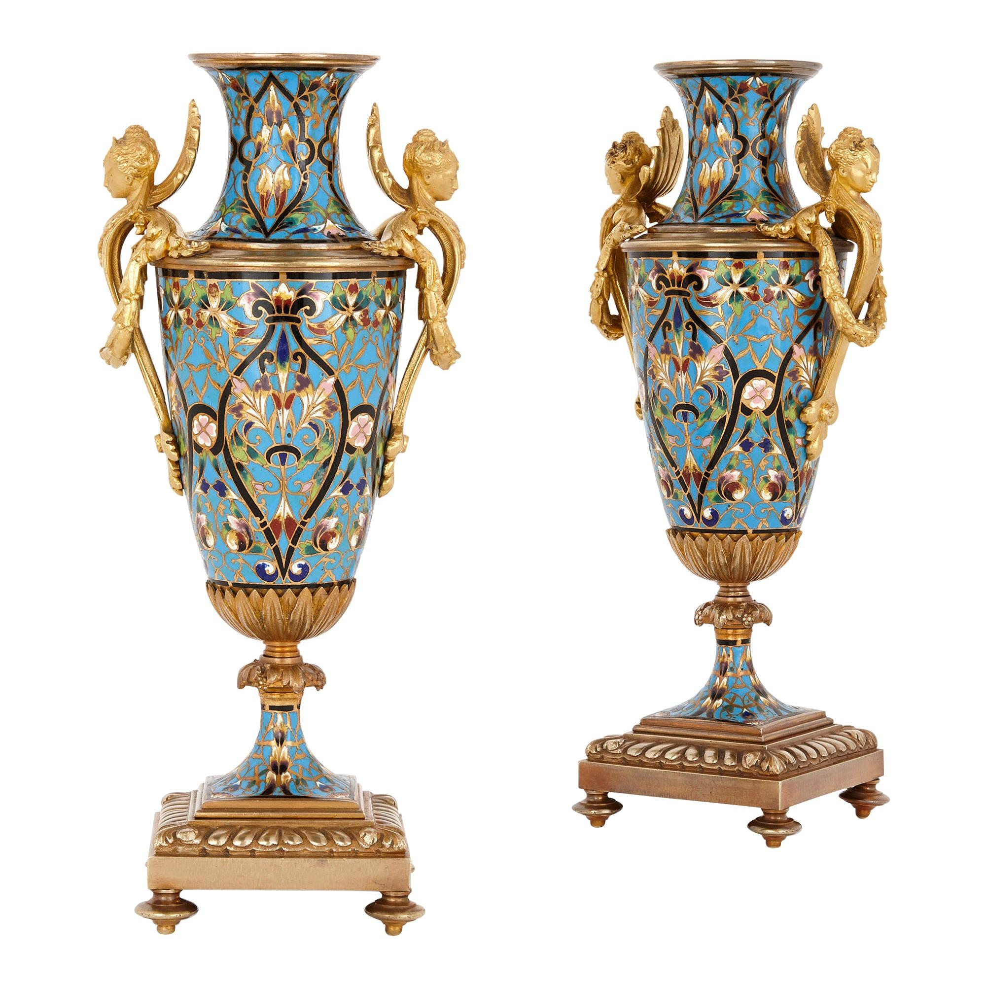 Pair of French Champlevé Enamel and Gilt Bronze Vases