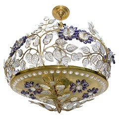Pair of French Chandeliers with Amethyst Flowers