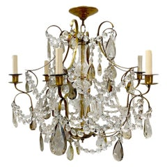 Pair of French Chandeliers with Crystal Drops, Sold Individually