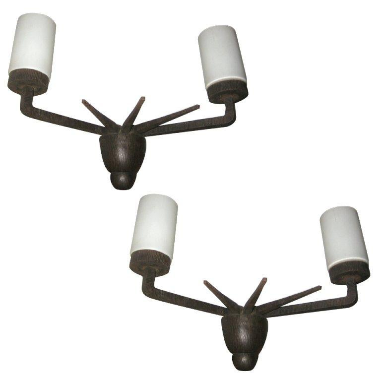 Pair of French Chased Wrought Iron Sconces after Paul Kiss For Sale