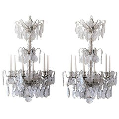 Pair of French Chateau Crystal Silver Chandeliers Candles LouisXVI Estate Empire