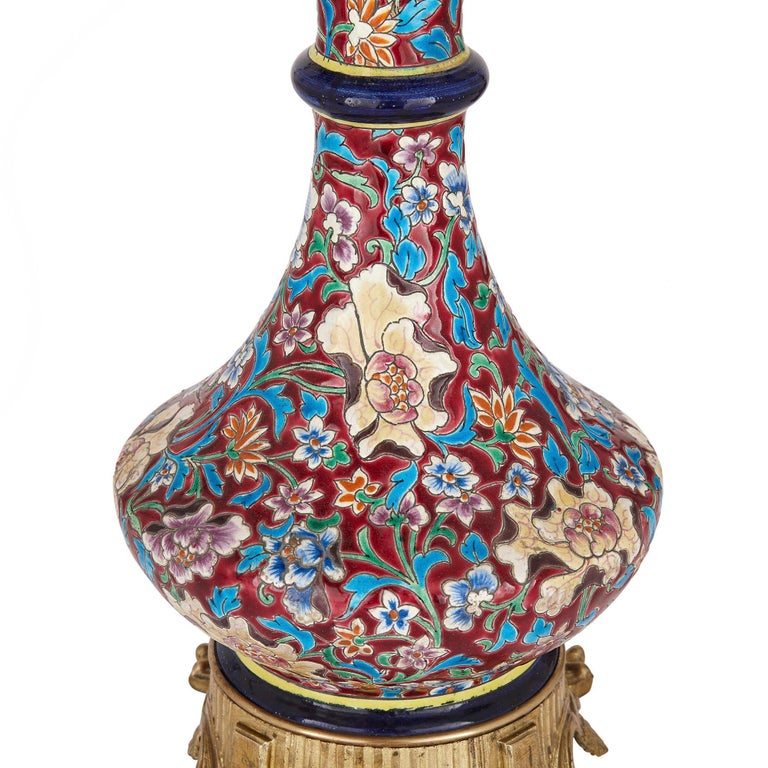 Pair of French Chinoiserie Style Faience, Glass, and Gilt Bronze Lamps In Good Condition For Sale In London, GB