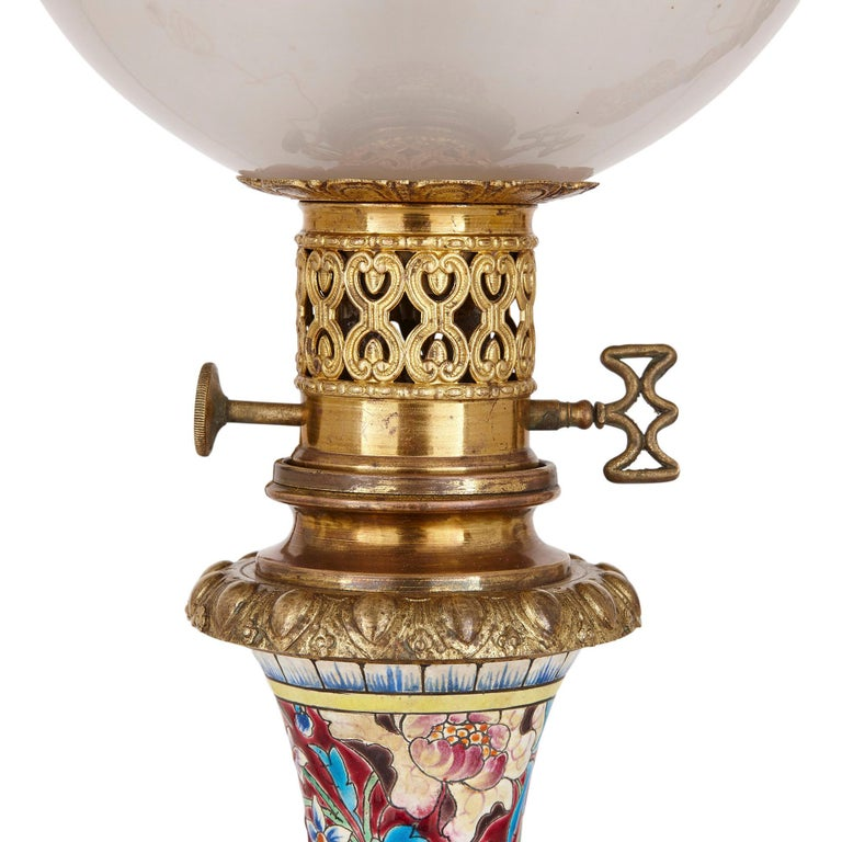 19th Century Pair of French Chinoiserie Style Faience, Glass, and Gilt Bronze Lamps For Sale
