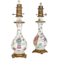 Pair of French Chinoiserie Style Gilt Bronze Mounted Porcelain Oil Lamps