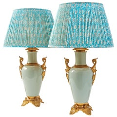 Pair of French Chinoiserie Porcelain and Ormolu Lamps, circa 1900