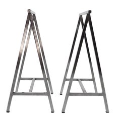 Pair of French Chrome Metal Table Trestles, 1970s