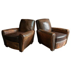 Pair of French Cigar Brown Leather Club Chairs, circa 1940