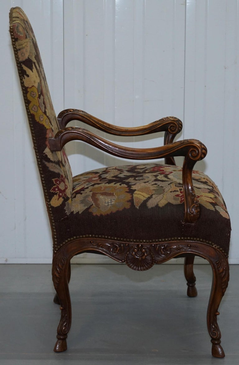 Pair of French circa 1850 Walnut Tapestry Embroidered ...