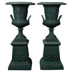 Pair of French Classical Painted Cast Iron Garden Urns with Plinths 20th Century