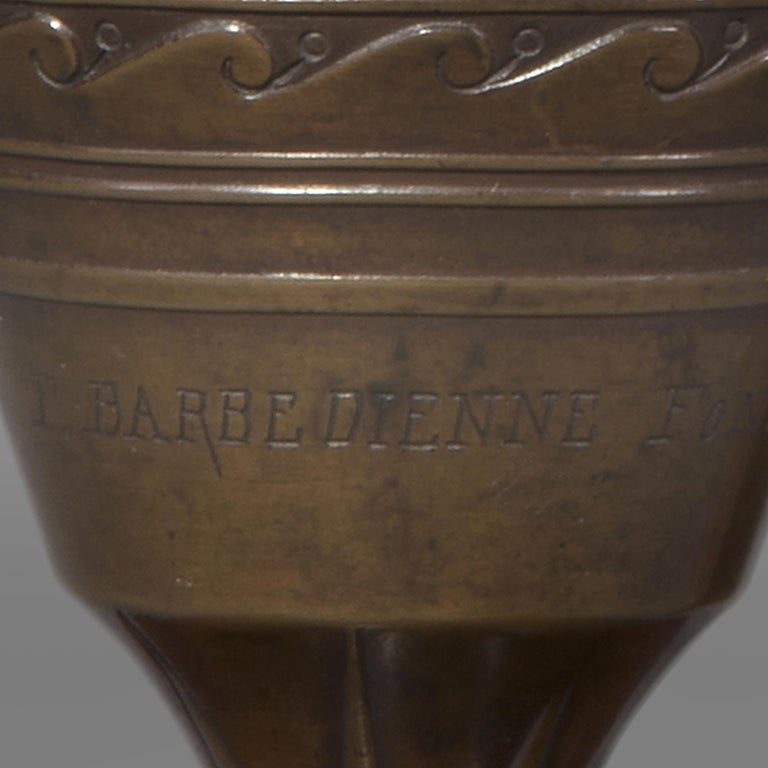 Neoclassical Pair of French Classical Revival Bronze Vases by Barbedienne, c 1854 For Sale