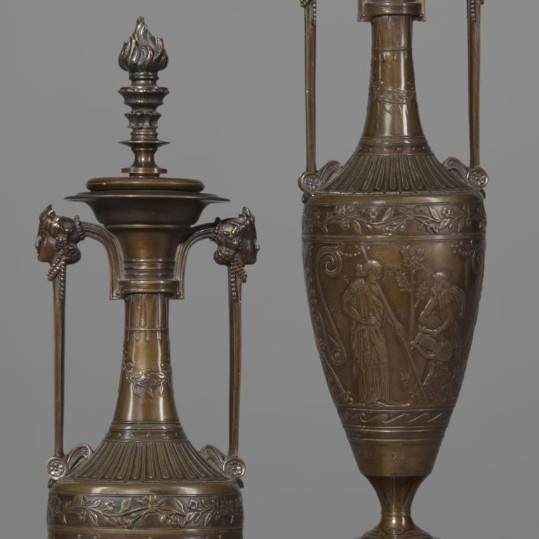 Pair of French Classical Revival Bronze Vases by Barbedienne, c 1854 In Good Condition For Sale In London, GB