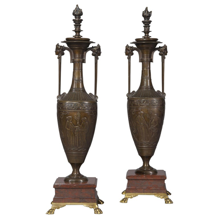 Pair of French Classical Revival Bronze Vases by Barbedienne, c 1854 For Sale