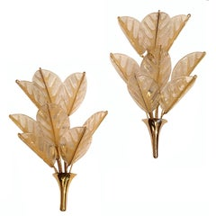 Pair of French Clear and Gold Glass Sconces