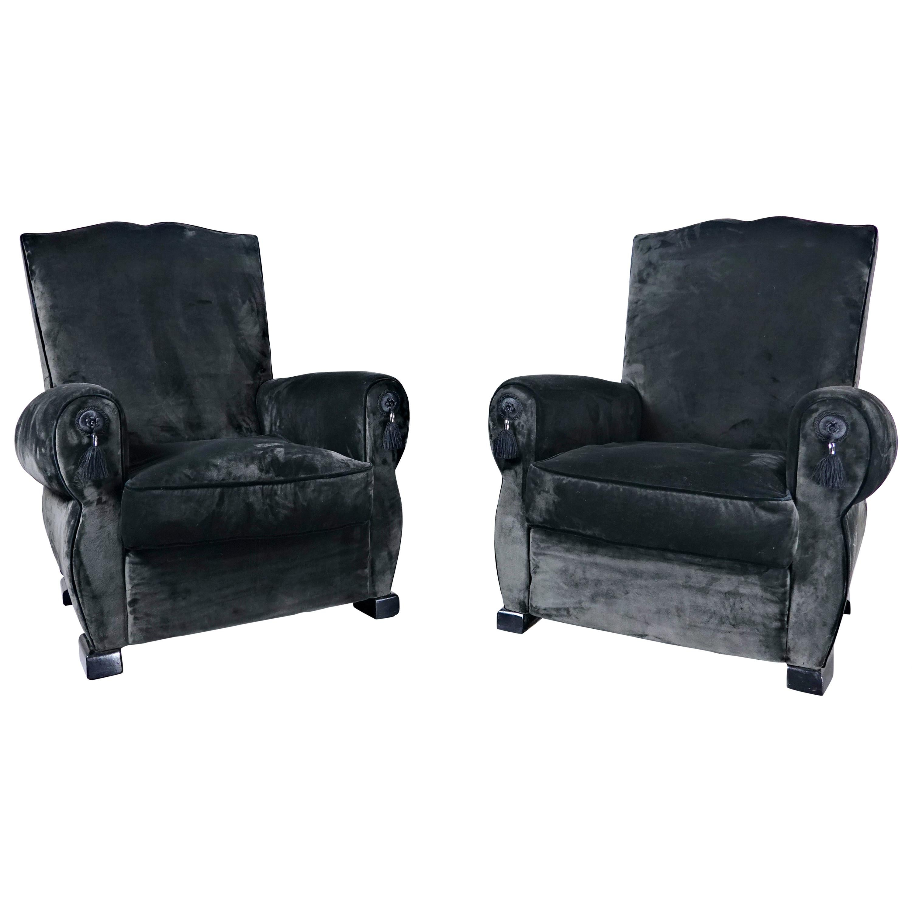 Pair of French Club Chairs, 1940s