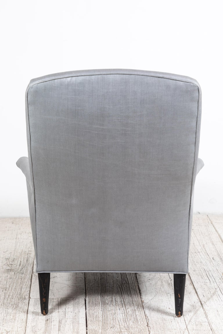 Pair of French Club Chairs Upholstered in Grey Beetled Linen Fabric For Sale 6
