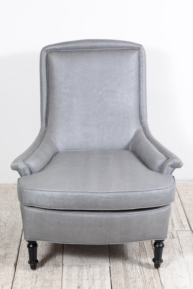 Pair of French Club Chairs Upholstered in Grey Beetled Linen Fabric For Sale 1