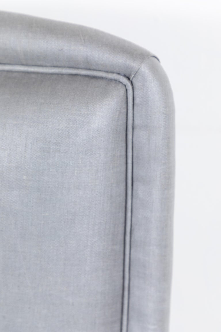 Pair of French Club Chairs Upholstered in Grey Beetled Linen Fabric For Sale 2