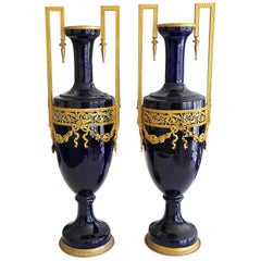 Pair of French Cobalt Blue Gilt Bronze Ormolu-Mounted Urns