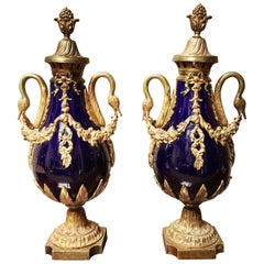 Pair of French Cobalt Porcelain and Bronze-Mounted Cassolettes