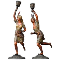 Pair of French Cold Painted Spelter Figural Candlesticks