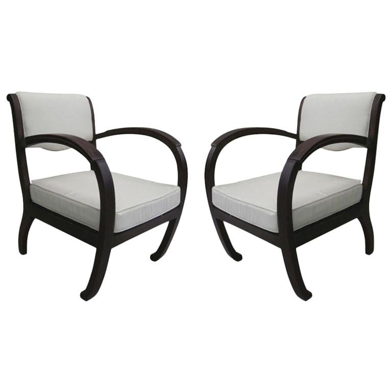 Pair of French Colonial, Art Deco, Teak Lounge Chairs / Armchairs