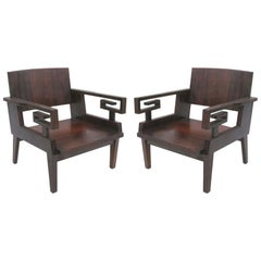 Pair of French Colonial, Mid-Century Modern Neoclassical, Kingwood Lounge Chairs