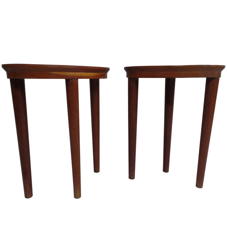 Pair of French Colonial Solid Wood Side Tables / Consoles / Nightstands, 1930 For Sale