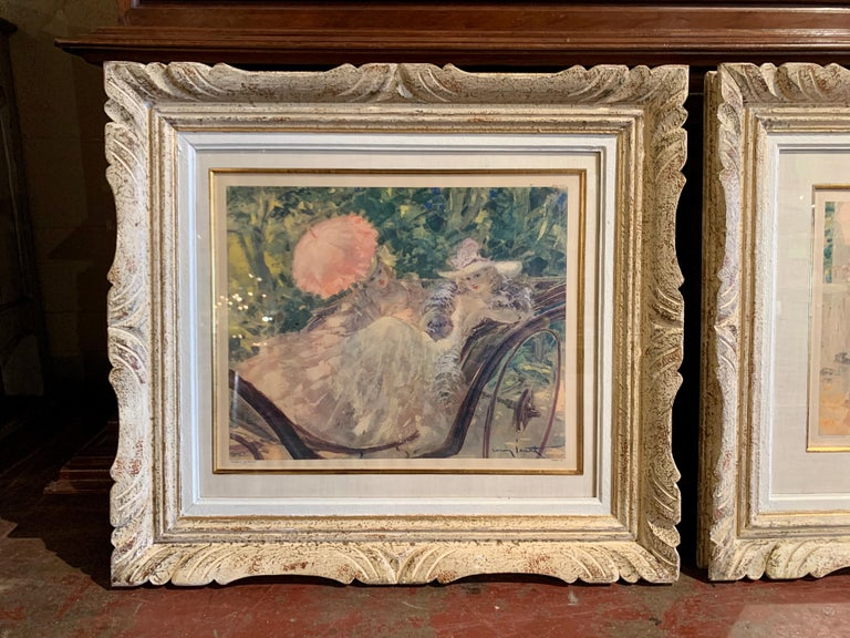 These two lithographs were hand sketched in France circa 1920. Both artwork are set in a carved painted frame and protected with glass; one scene depicts a tea drinking in a garden, the other a promenade in the park. Both drawings on paper are in