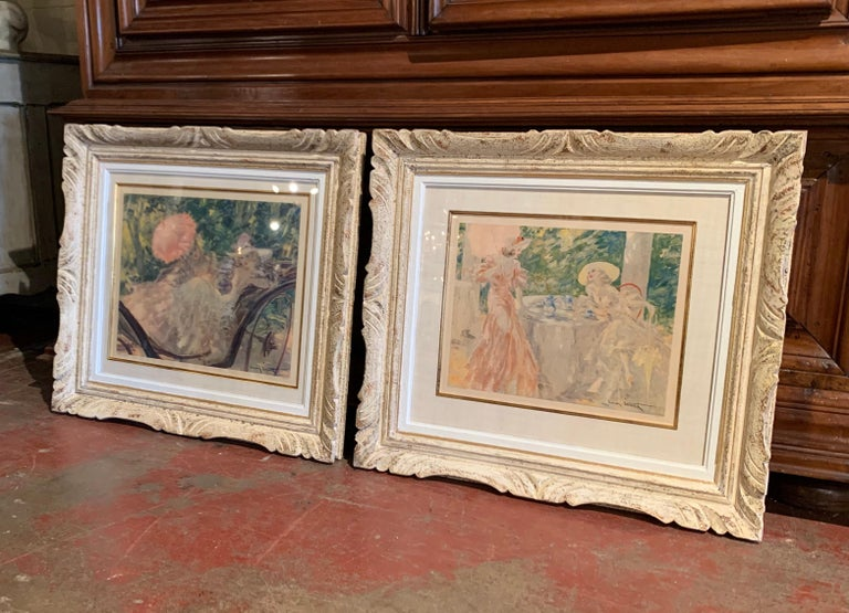20th Century Pair of French Colored Lithographs in Carved Frames Signed Louis Icart, 1947 For Sale