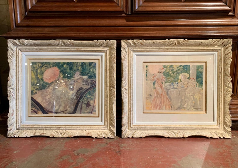 Glass Pair of French Colored Lithographs in Carved Frames Signed Louis Icart, 1947 For Sale