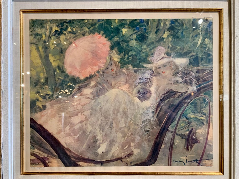 Pair of French Colored Lithographs in Carved Frames Signed Louis Icart, 1947 For Sale 1