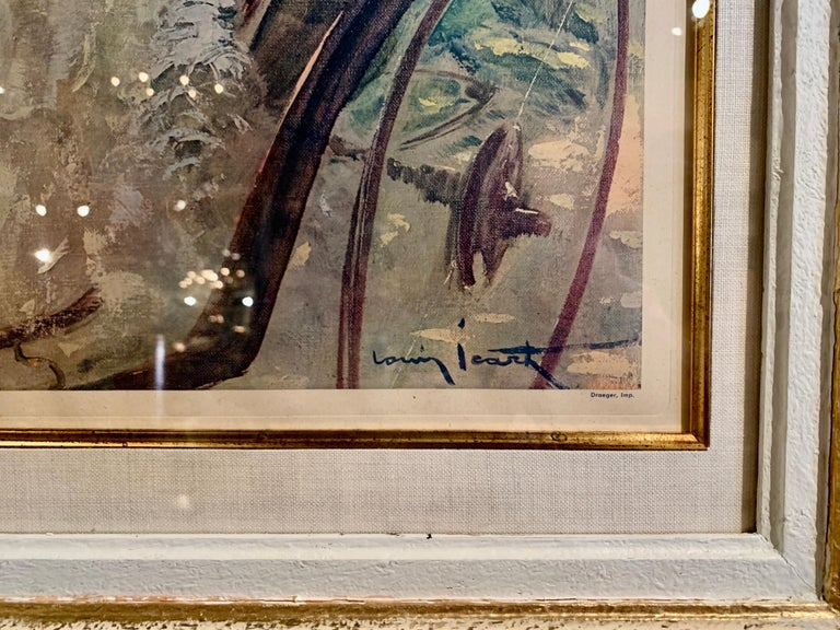 Pair of French Colored Lithographs in Carved Frames Signed Louis Icart, 1947 For Sale 2