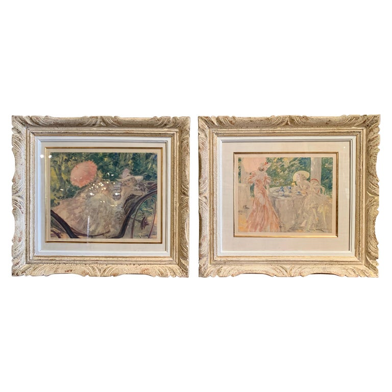 Pair of French Colored Lithographs in Carved Frames Signed Louis Icart, 1947 For Sale