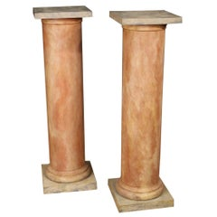 Pair of French Columns in Lacquered Wood, 20th Century