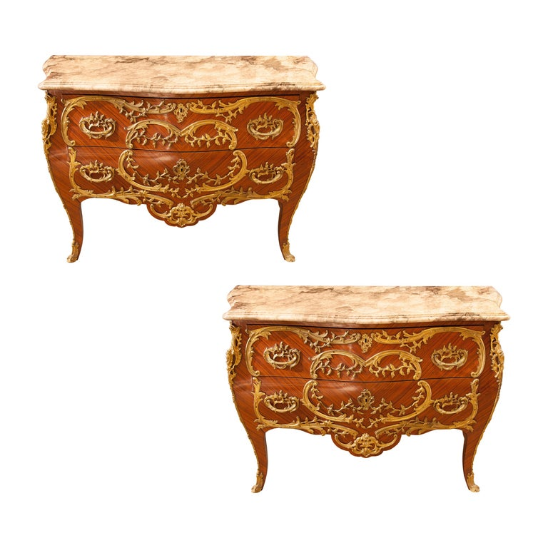 Pair of French Commodes Bombe' Form with Elaborate Bronze Mounts For Sale