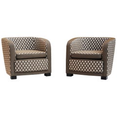 Pair of French Completely Upholstered Art Deco Armchairs, 1930-1939