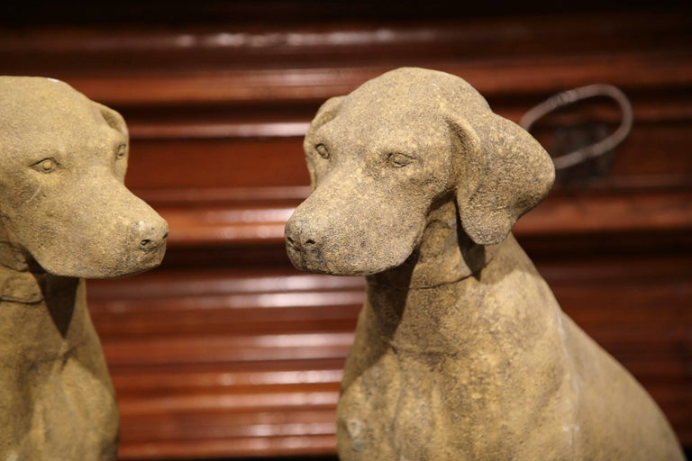 Pair of French Concrete Verdigris Patinated Labrador Dog Sculptures For Sale 1