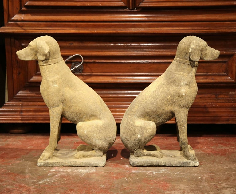 Pair of French Concrete Verdigris Patinated Labrador Dog Sculptures For Sale 2