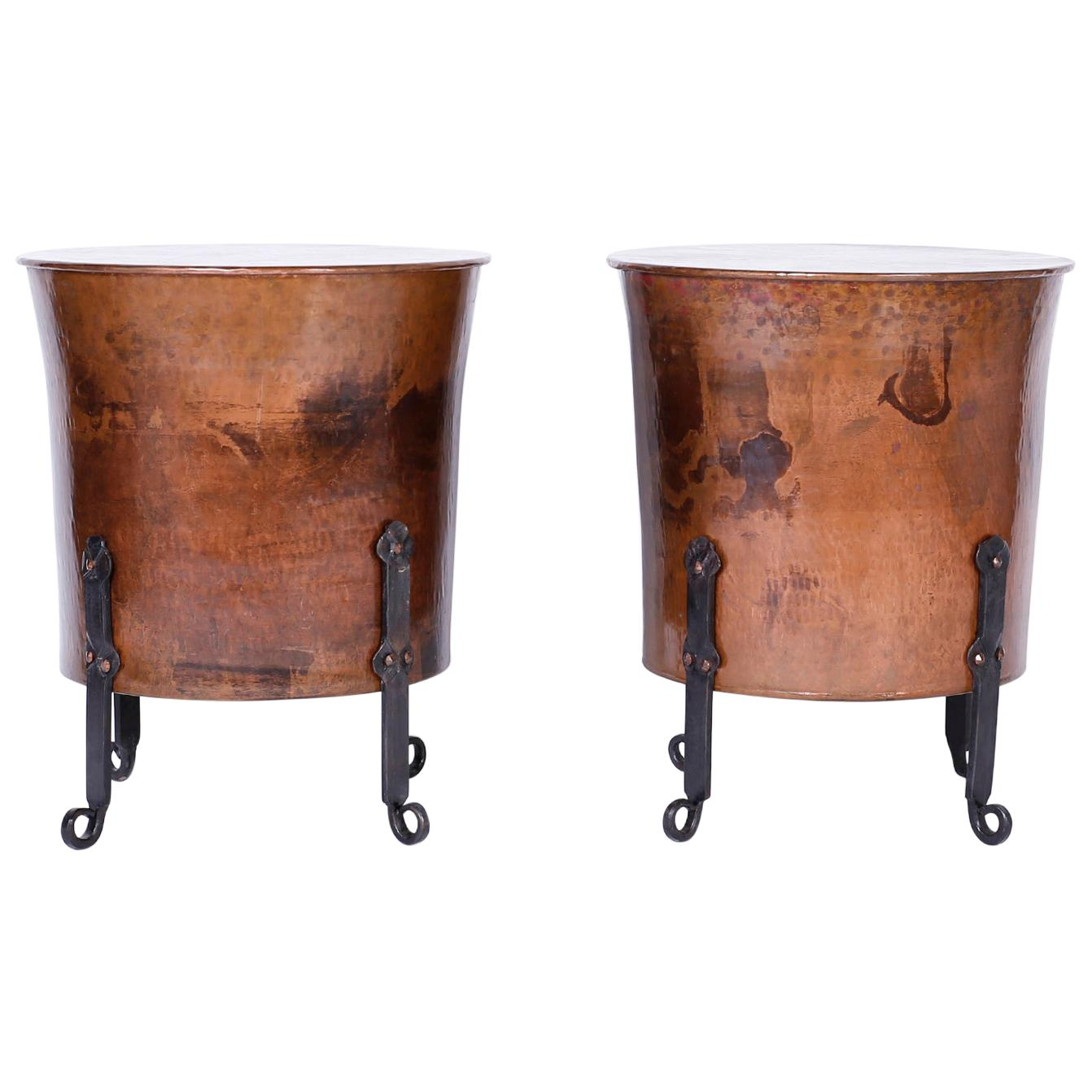 Pair of French Copper End Tables or Stands