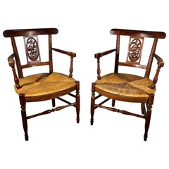 Pair of French Country Armchairs, Garden Theme, 19th Century