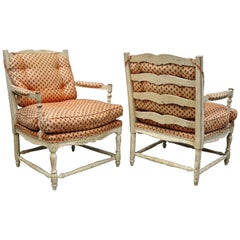 Pair of French Country Cream Distress Painted Lounge Chair Ladder Back Armchairs