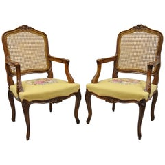 Pair of French Country Louis XV Style Cane Back Chair Needlepoint Armchairs