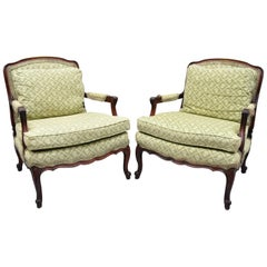 Pair of French Country Louis XV Style Mahogany Bergere Chairs Armchairs