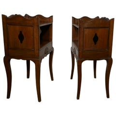 Pair of French Country Oak Bedside Cabinets