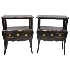 Pair of French Country Provincial Style Bombe Nightstand Attributed to Auffray