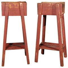Pair of French Country Red Painted Wooden Planters on Long Splayed Legs
