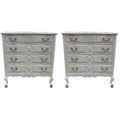 Pair of French Country Style Marble-Top Commodes