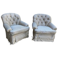 Pair of French Country Upholstered Armchairs
